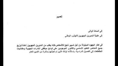 صورة وزارة التهذيب : تقرر إعادة المعلمين والأساتذة بالإدارات للفصول (وثيقة)